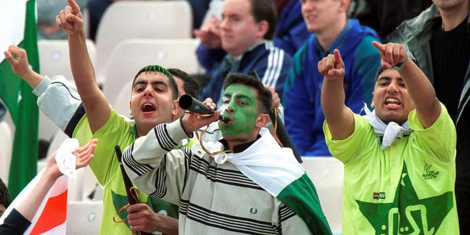 Pakistan cricket fans in manchester at the home of lancashire county cricket club.jpg