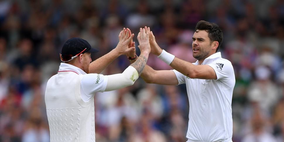 Lancashire Cricket star Jimmy Anderson celebrates taking a wicket for England in the Second Investec Test at Emirates Old Trafford against Pakistan.jpg