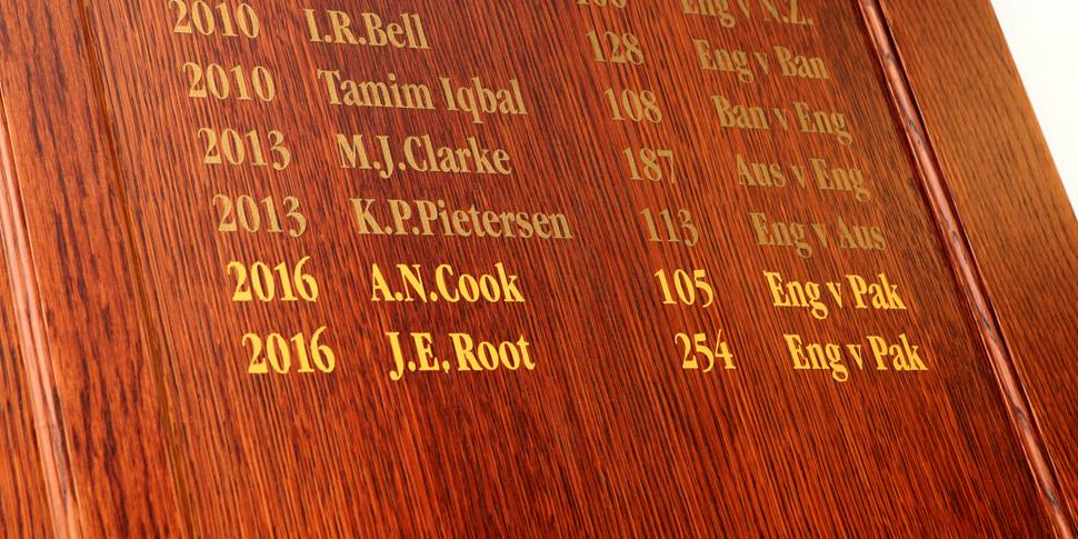 Joe Root and Alastair Cook are remebered on the Test Match Honours Board at Lancashire County Cricket Club.JPG
