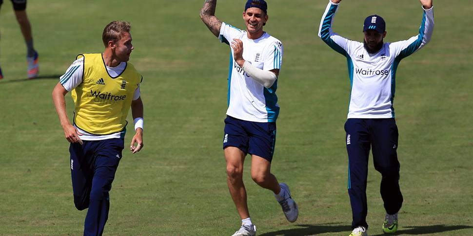 The England cricket team warm up ahead of the Second Investec Test Match at Emirates Old Trafford.jpg