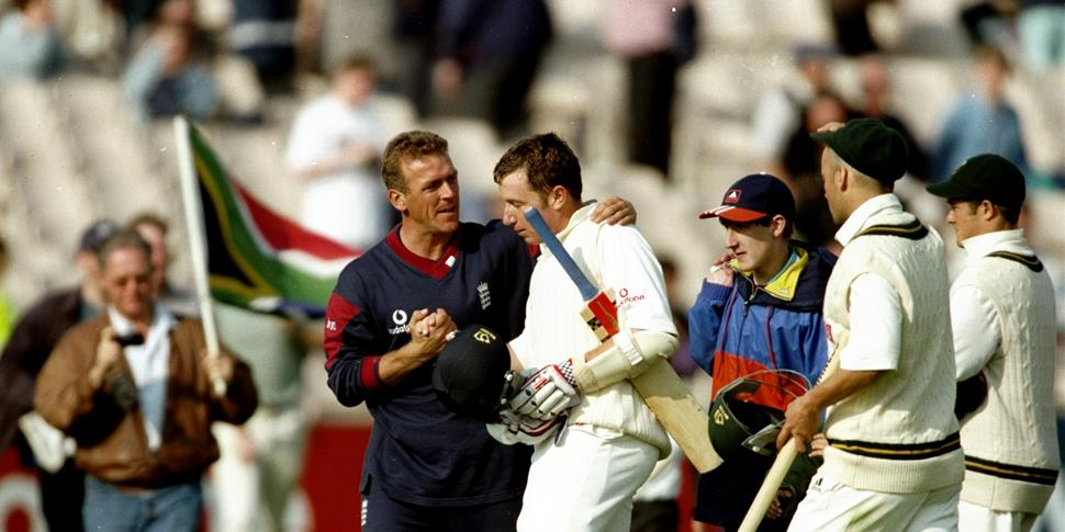 England cricket captain Alec Steward celebrates for England against South Africa in the Third Test at Old Trafford.jpg
