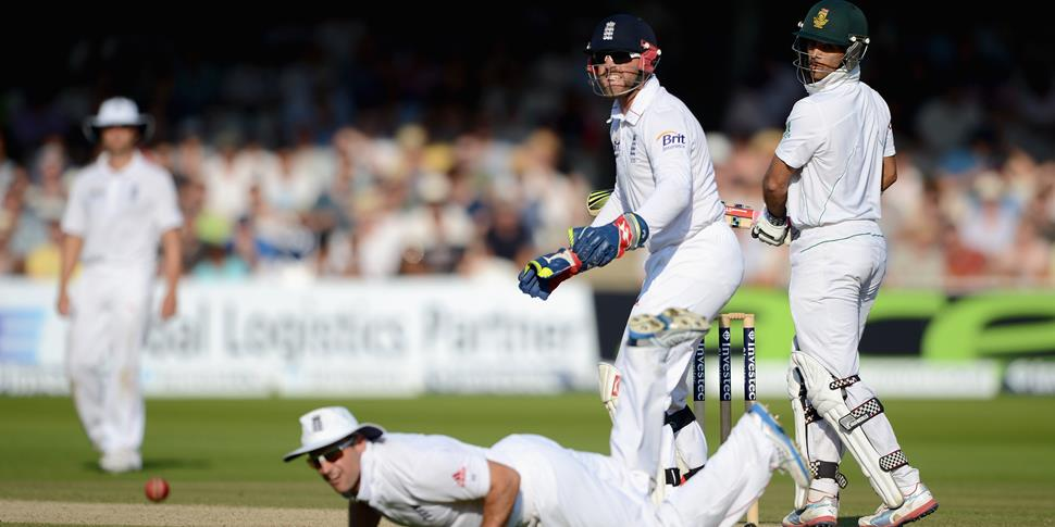Jean-Paul Duminy of SOuth Africa hits past England captain Alastair Cook.jpg