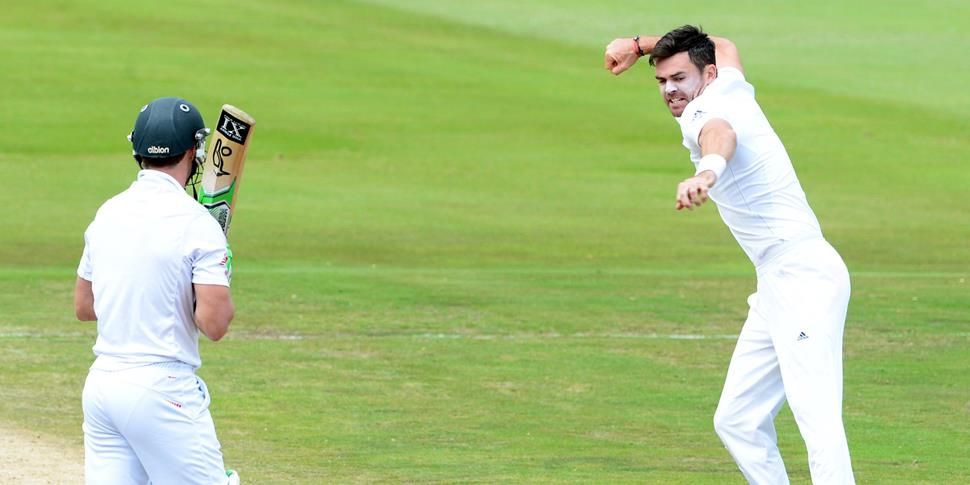 Lancashire County Cricket Club and England bowler James Anderson playing against South Africa in the Test Match back in 2016.jpg