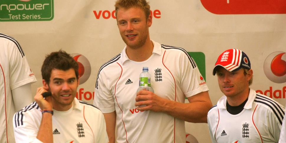 Lancashire County Cricket Club duo Andrew Flintoff and James Anderson take a break for England against South Africa in 2008.jpg