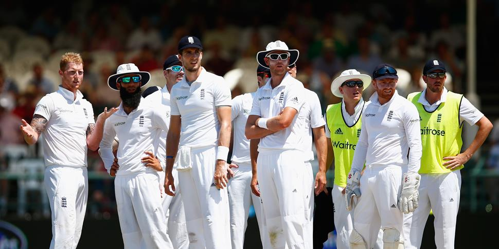 The England Cricket Team look on during the second test match in South Africa.jpg