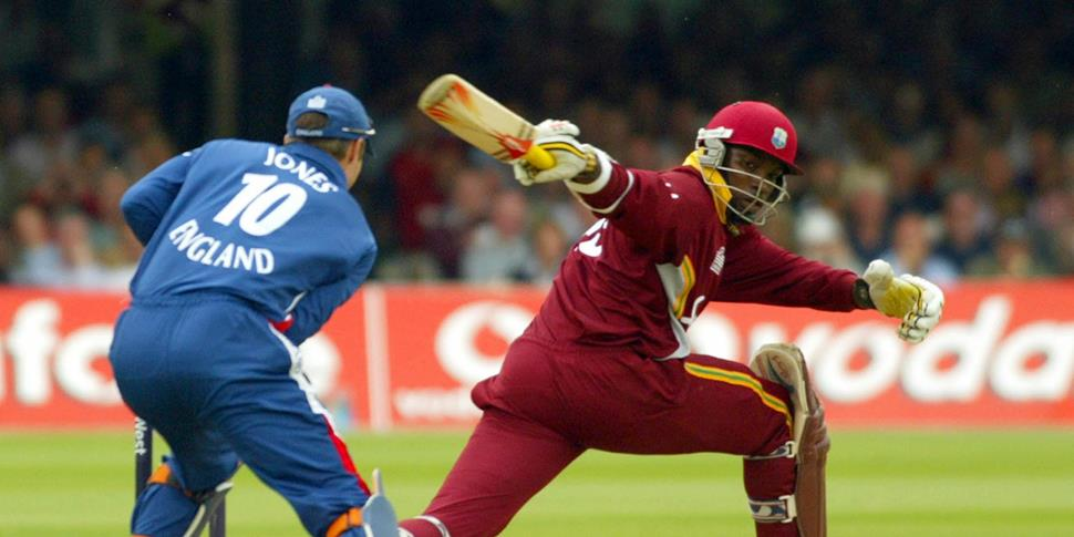 Chris Gayle of the West Indies scores this highest runs of the match against England in the one-day international in 2004.jpg