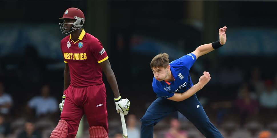 England bowler Chris Woakes in action against West Indies in a One-Day warm up match in Sydney.jpg