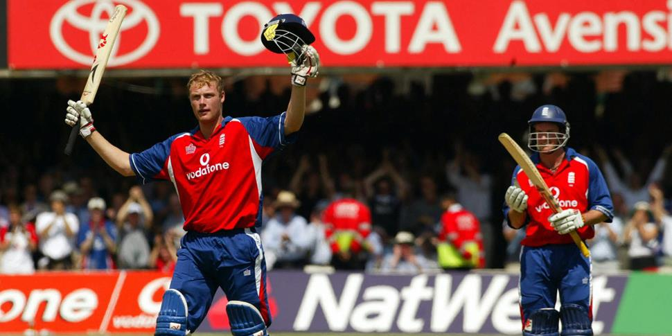 Former England and Lancashire County Cricket Club legend Andrew Flintoff is watched by Andrew Strauss as he celebrates his century against the west indies in the odi.jpg