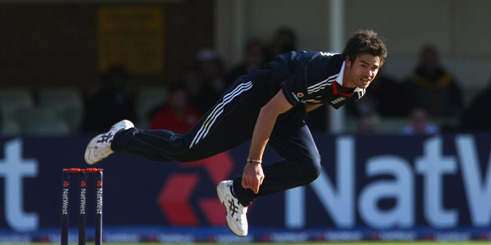 James Anderson of Lancashire County Cricket Club and England takes a wicket against the west indies.jpg