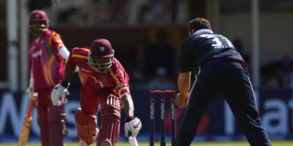 West indies cricket player Runako Morton is run out by England player Tim Bresnan.jpg
