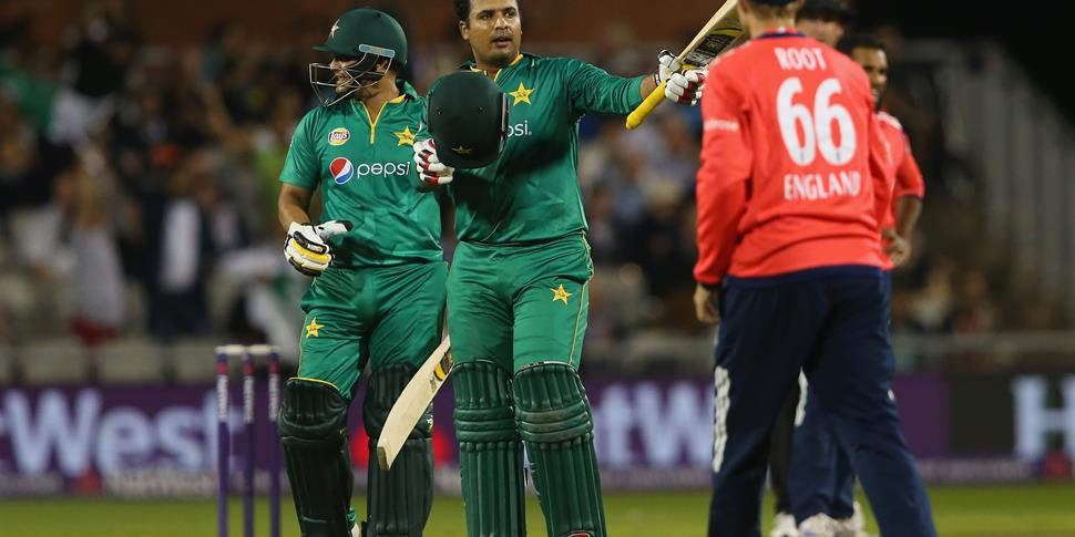 Sharjeel Khan put on a commanding display at Emiarates Old Trafford in the England v Pakistan IT20.jpg