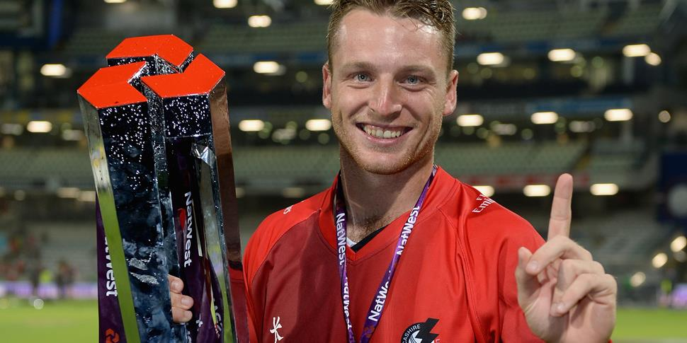 Lancashire Lightning star Jos Buttler with the NatWest T20 Blast trophy is named England captain for Bangladesh.jpg