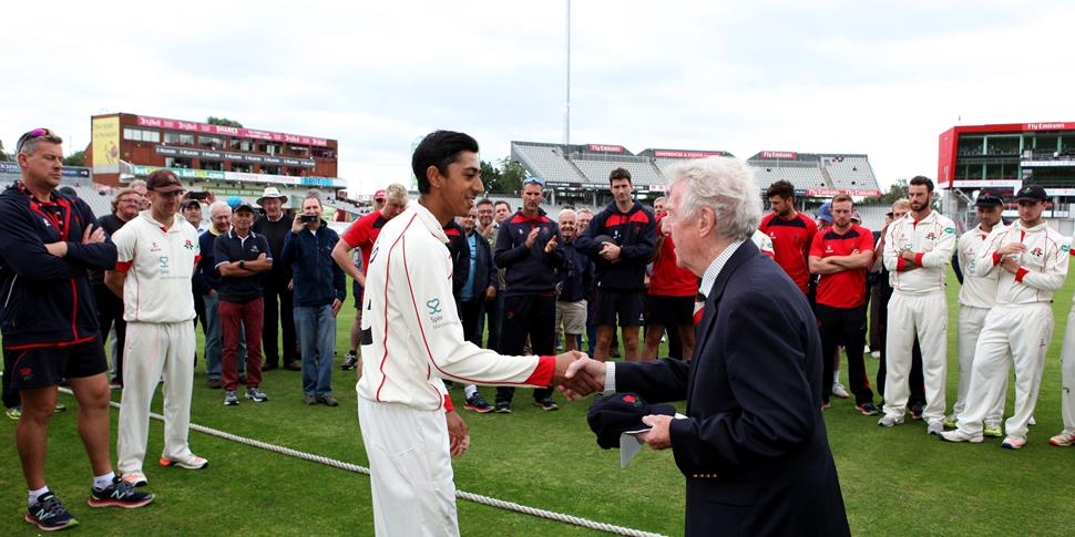 Haseeb collects his cap from the Lancashire CCC chairman.JPG