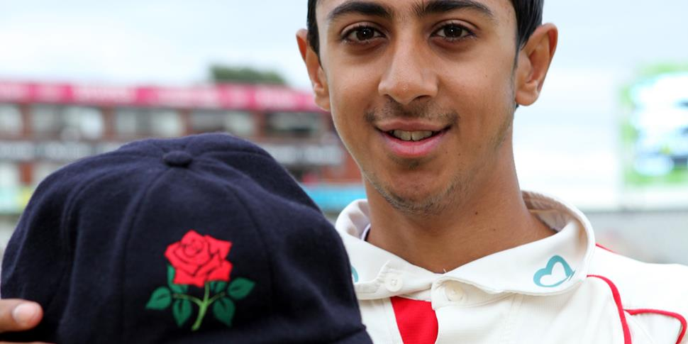 Haseeb Hameed collects his Lancashire cap at Emirates Old Trafford.JPG