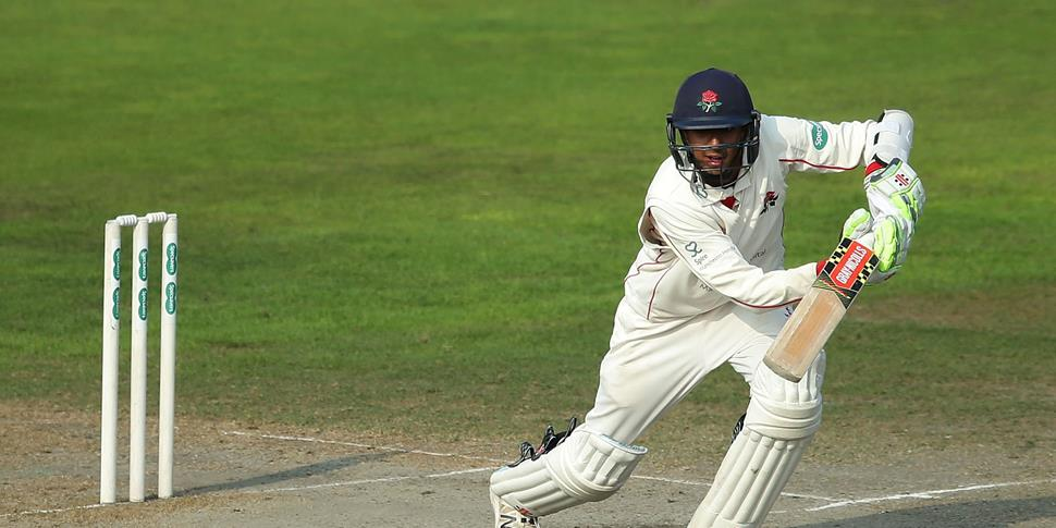 Haseeb Hameed out in the middle during the Specsaversw County Championship match at Emirates Old Trafford.jpg