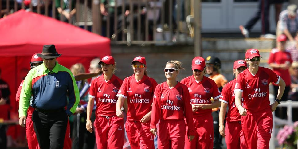 Lancashire Thunder walk out on the pitch to take on South Vipers in the Kia Women's Super League.jpg