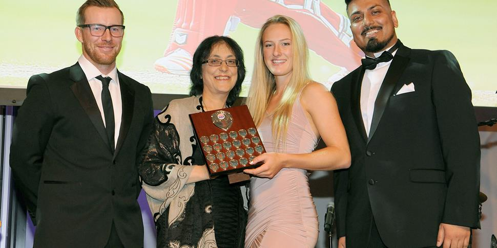 Lancashire Thunder player of the Year Emma Lamb at Emirates Old Trafford.jpg