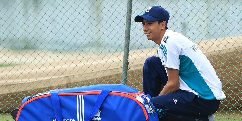 Lancashire County Cricket Club batsman Haseeb Hameed training in the nets for England.jpg