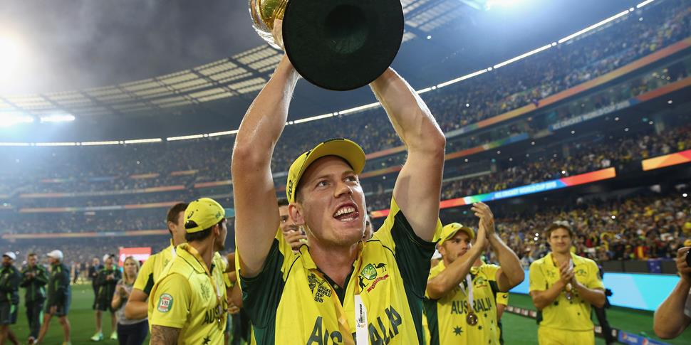 Faulkner with the ICC Cricket World Cup trophy after winning for Australia against New Zealand in Melbourne.jpg