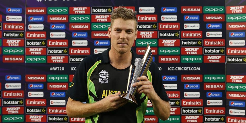 New Lancashire County Cricket Club signing James Faulker with the Man of the Match trophy for Australia.jpg