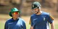 Ryan MacLaren speak to the South Africa coach during a training session in Adelaide.jpg