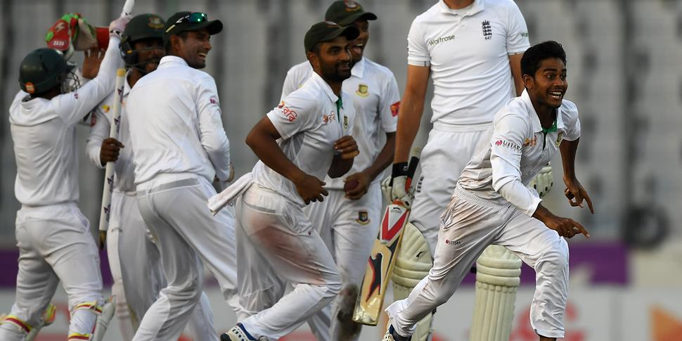 Bangladesh celebrate a memorable victory against England in the Second Test Match in Dhaka.jpg