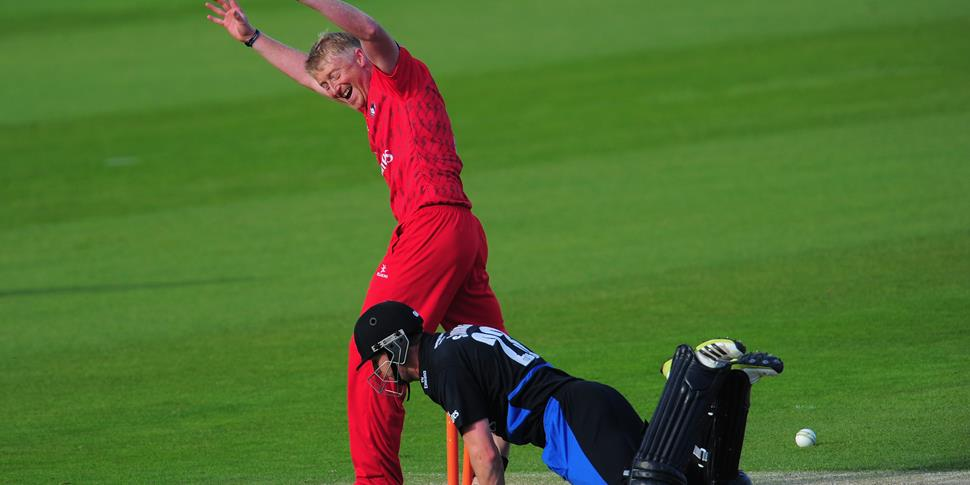Mark Stoneman is run out with Glen Chapple watching on in the T20 competition.jpg
