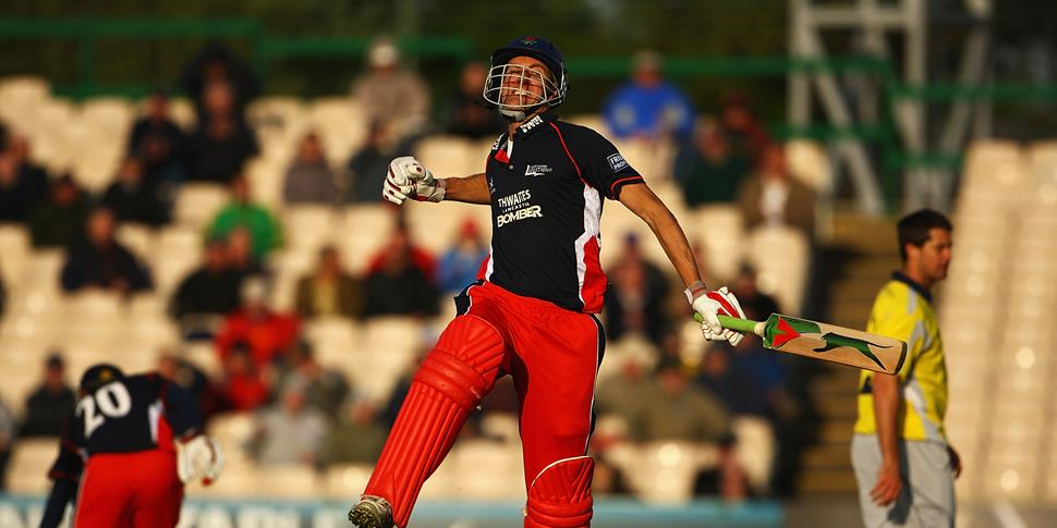 Mark Chilton of Lancashire celebrates during the Friends Provident trophy match against Derbyshire at Emirates Old Trafford.jpg