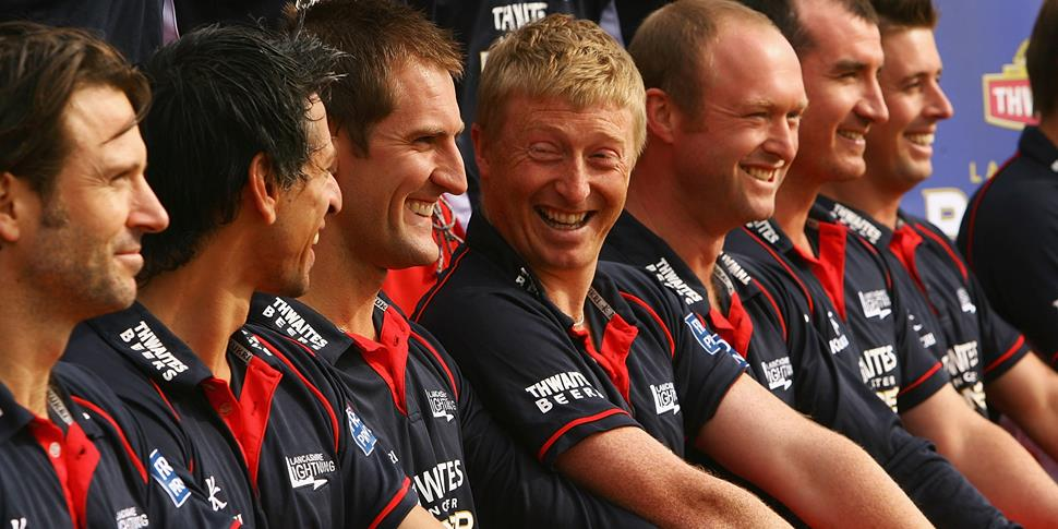 Mark Chilton and Geln Chapple share a joke as they prepare for the official Lancashire County Cricket Club photographs.jpg