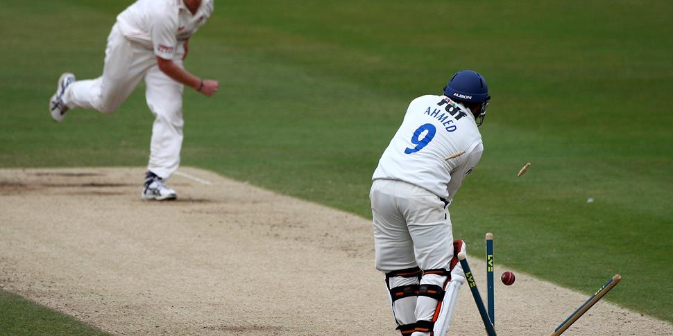 Lancashire Head Coach Glen Chapple bowls Mushtaq Ahmed of Sueex in the County Championship.jpg