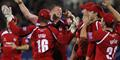 Glen Chapple celebrates a wicket with Mark Chilton and LCCC team mates in the T20 competition.jpg