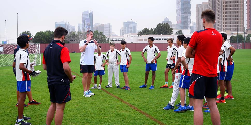 Ashley Giles leads a training session with the Dubai College U15 side..jpg