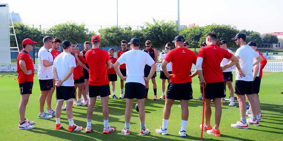 Ashley Giles speaks to the squad at the first training session in Dubai..jpg