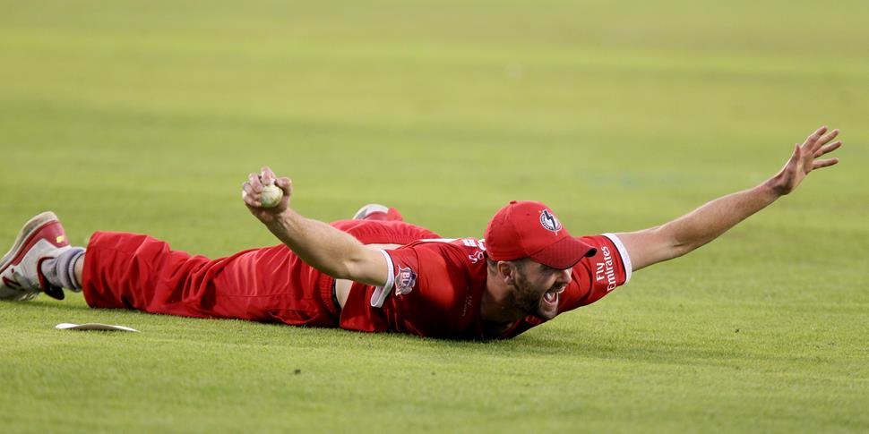 Tom Smith celebrates after taking a stunning catch against Birmingham Bears.JPG
