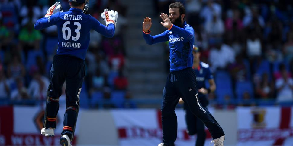 Moeen Ali and Jos Buttler celebrate a wicket in the West Indies v England ODI.jpg