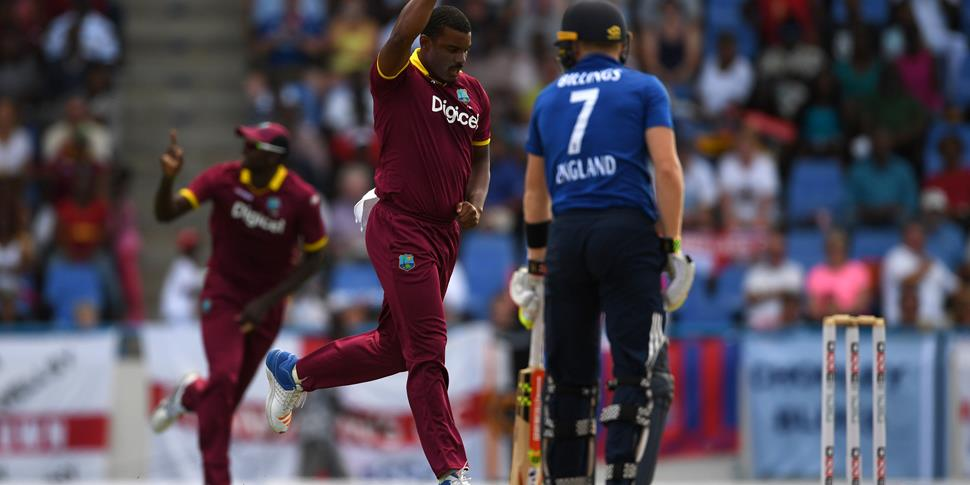 Shannon Gabriel of the West Indies celebrates a wicket in the ODI against England in Antigua.jpg
