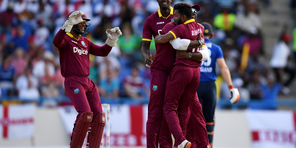 Devendra Bishoo celebrate a wicket against England in the ODI.jpg