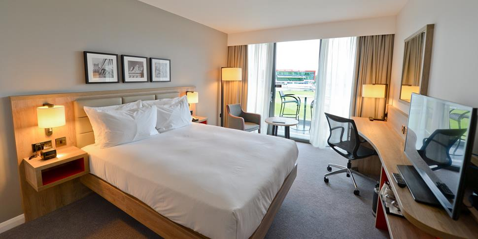 Pitch facing room at Emirates Old Trafford Hilton Garden Inn.jpg
