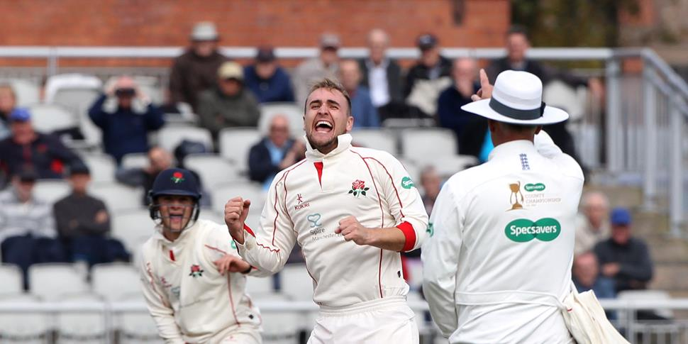Liam Livingstone celebrates a wicket in the County Championship.JPG