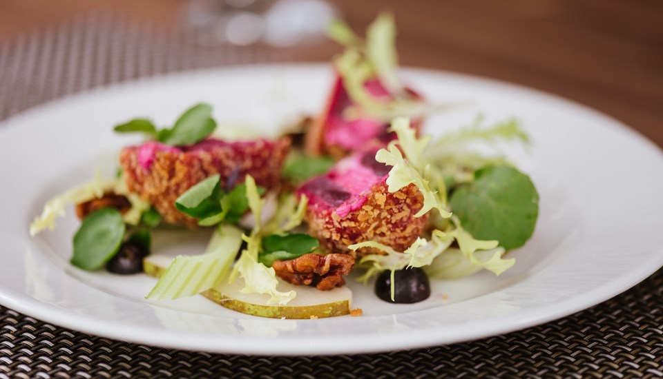 Hilton Garden Inn Garden Grille - Breaded goats cheese and beetroot fritter (5).jpg