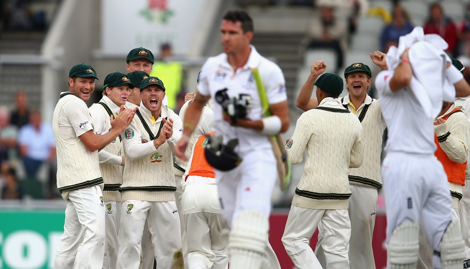 Australia celebrate the wicket of Kevin Pietersen after his dismissal in the Ashes Test match.jpg