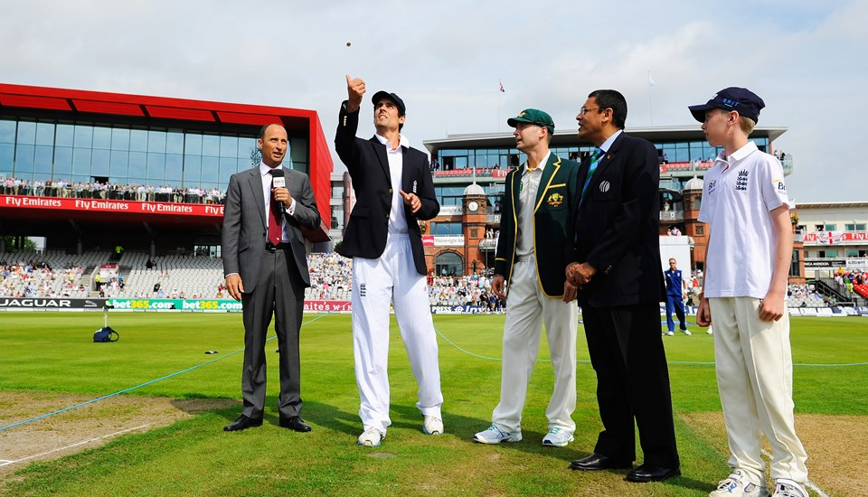 England captain Alastair Cook during the coin toss at Emirates Old Trafford cricket ground.jpg