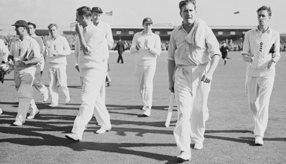 Jim Laker took 19 wickets in The Ashes at Emirates Old Trafford.jpg