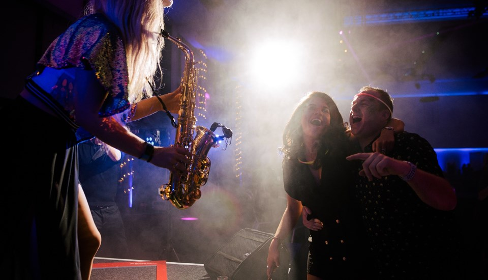 Emirates Old Trafford Works Finished Christmas Party 2018, Saxophonist.jpg